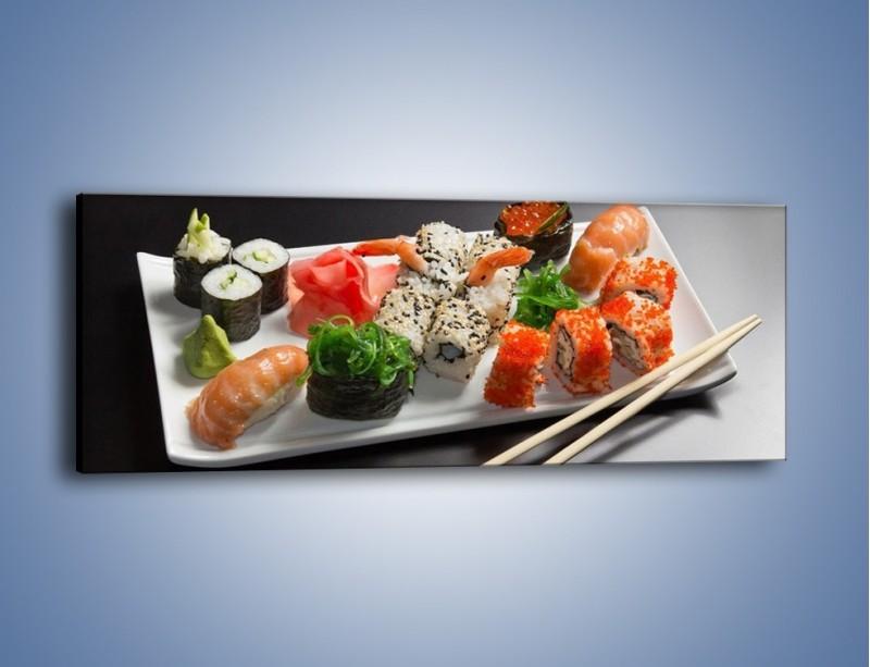 Obraz na płótnie – Kuchnia azjatycka na półmisku – jednoczęściowy panoramiczny JN295