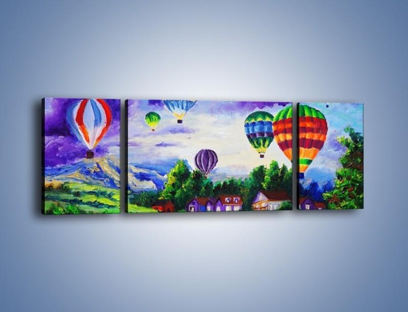 Obraz na płótnie – Lot kolorowym balonem – trzyczęściowy GR482W5