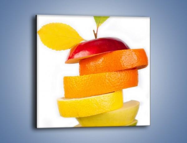Obraz na płótnie – Piramida z plastrów owoców – jednoczęściowy kwadratowy JN035