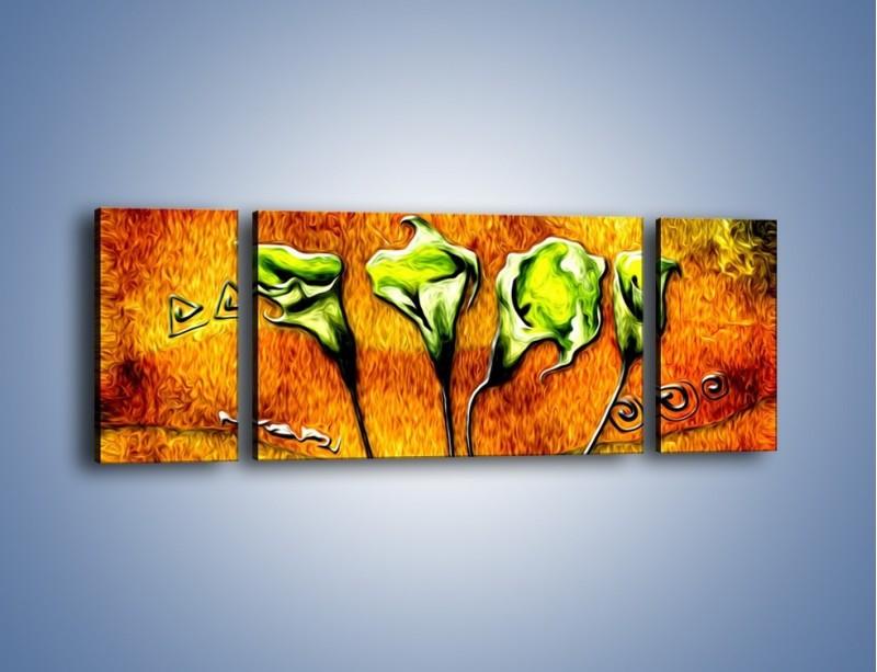 Obraz na płótnie – Zielone kalie w ogniu – trzyczęściowy GR635W5
