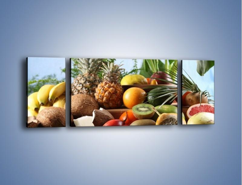 Obraz na płótnie – Mix owocowy na drewnianym stole – trzyczęściowy JN009W5