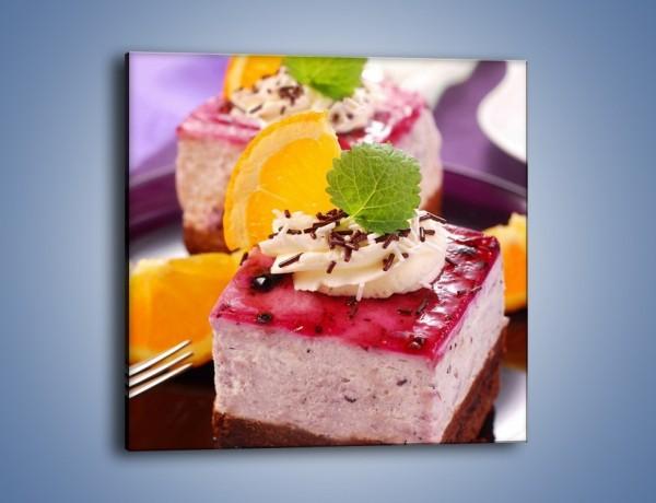 Obraz na płótnie – Jagodowe ciasto – jednoczęściowy kwadratowy JN036