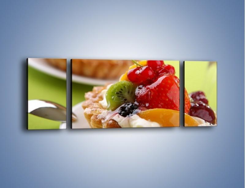 Obraz na płótnie – Owocowe babeczki z kremem – trzyczęściowy JN021W5