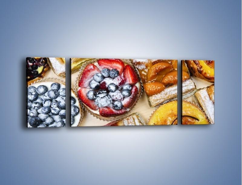 Obraz na płótnie – Kolorowe wypieki z dodatkiem owoców – trzyczęściowy JN032W5