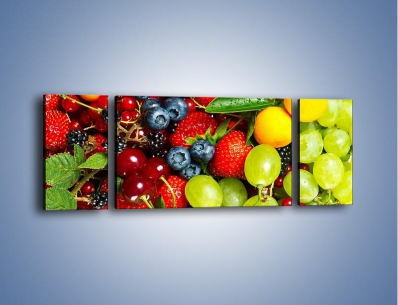 Obraz na płótnie – Wymieszane kolorowe owoce – trzyczęściowy JN037W5