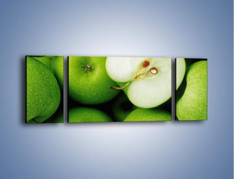 Obraz na płótnie – Zielone jabłuszka – trzyczęściowy JN039W5