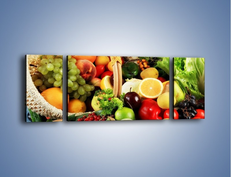 Obraz na płótnie – Kosz pełen owocowo-warzywnego zdrowia – trzyczęściowy JN059W5