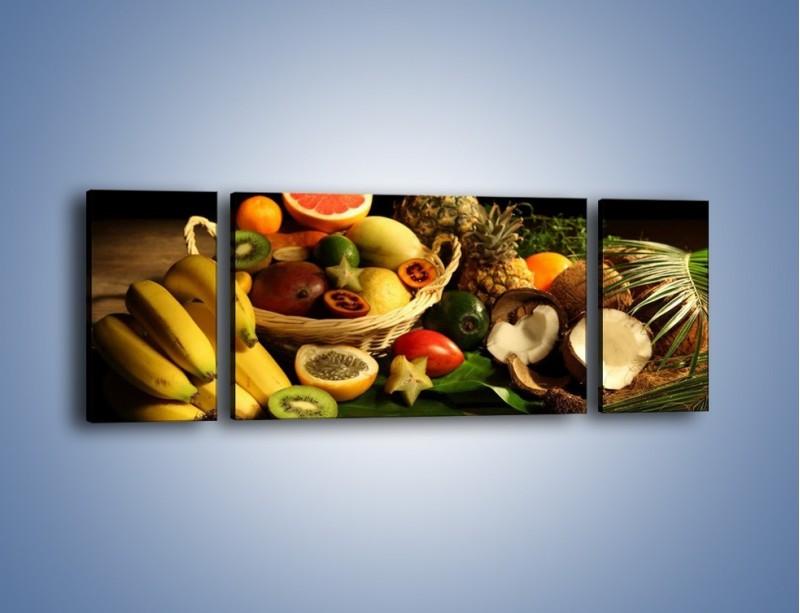 Obraz na płótnie – Kosz egzotycznych owoców – trzyczęściowy JN074W5