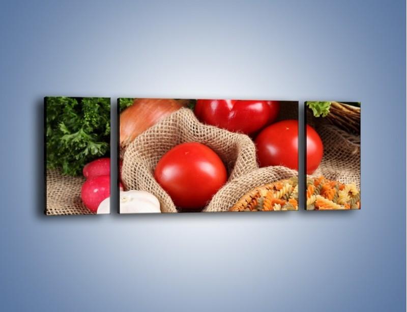 Obraz na płótnie – Makaron z warzywami – trzyczęściowy JN076W5