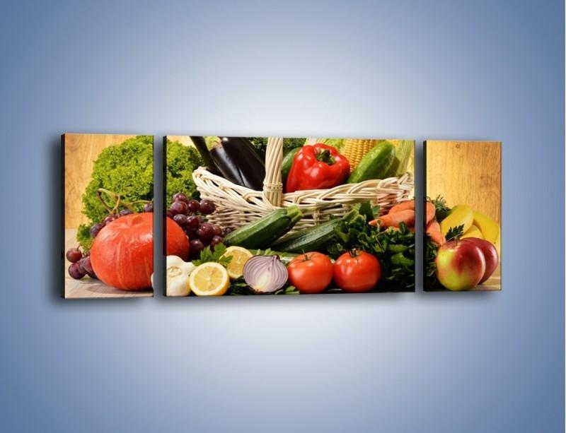 Obraz na płótnie – Kosz pełen warzywnych witamin – trzyczęściowy JN081W5