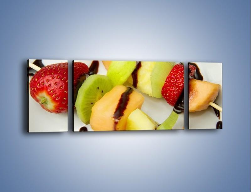 Obraz na płótnie – Czekoladowo-owocowe szaszłyki – trzyczęściowy JN112W5