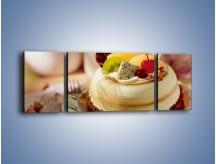 Obraz na płótnie – Bezowy torcik owocowy – trzyczęściowy JN256W5