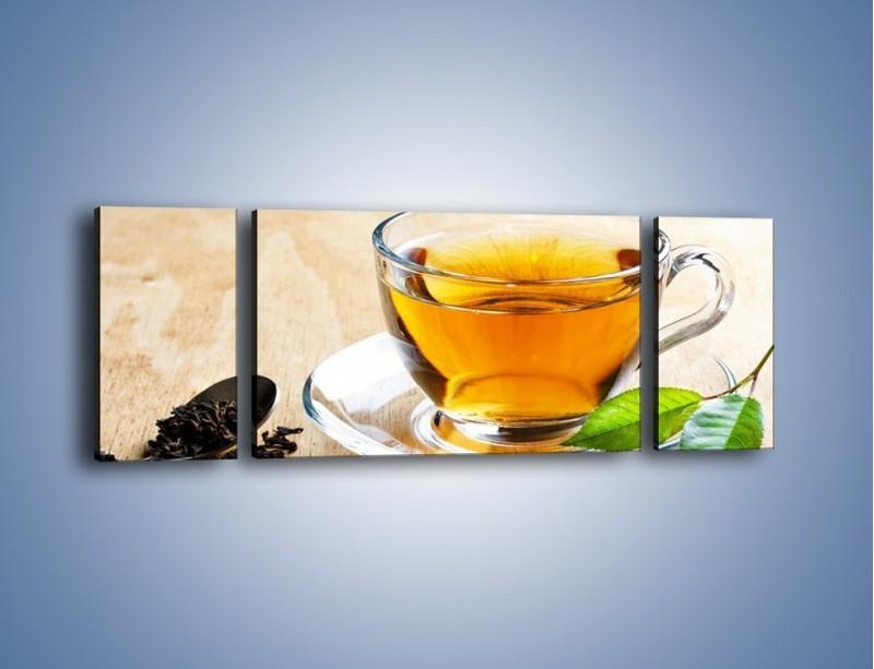 Obraz na płótnie – Listek mięty dla orzeźwienia herbaty – trzyczęściowy JN290W5