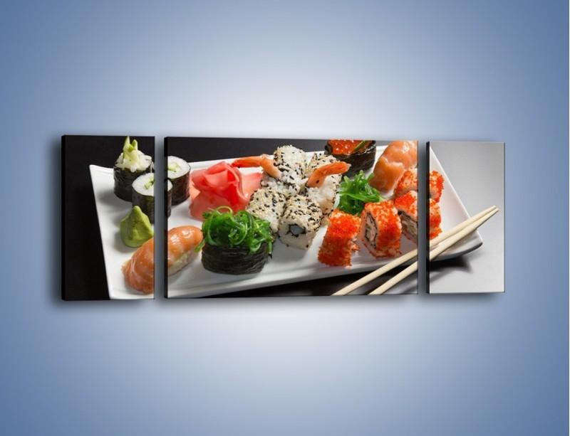 Obraz na płótnie – Kuchnia azjatycka na półmisku – trzyczęściowy JN295W5