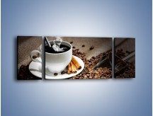 Obraz na płótnie – Czarna palona kawa – trzyczęściowy JN311W5