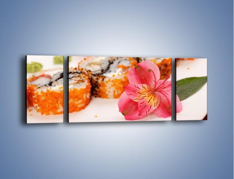 Obraz na płótnie – Sushi z kwiatem – trzyczęściowy JN354W5