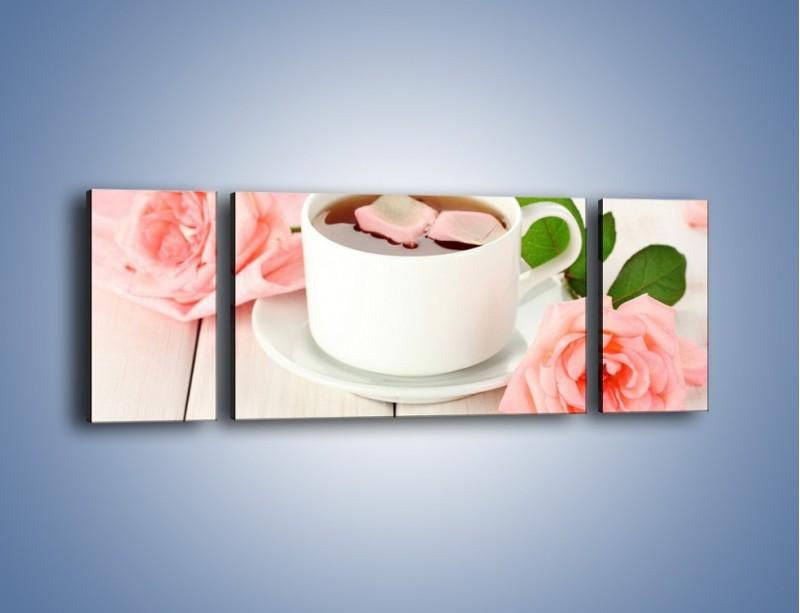 Obraz na płótnie – Herbata wśród róż – trzyczęściowy JN369W5