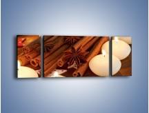 Obraz na płótnie – Cynamonowe szaleństwa przy świecach – trzyczęściowy JN371W5
