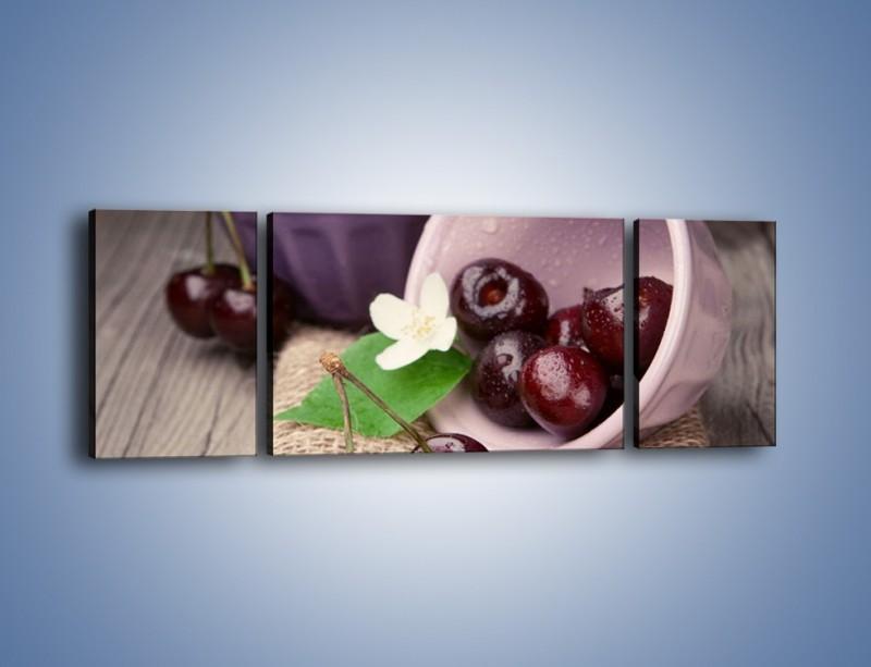 Obraz na płótnie – Wiśnie w małych pucharkach – trzyczęściowy JN399W5
