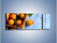Obraz na płótnie – Brzoskwinie w drewnianej skrzyni – trzyczęściowy JN404W5