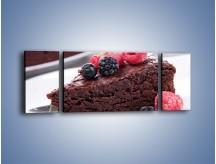 Obraz na płótnie – Czekoladowe brownie z owocami – trzyczęściowy JN408W5