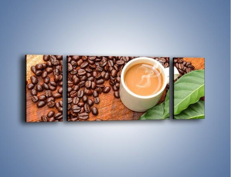 Obraz na płótnie – Ziarna kawy pod liściem – trzyczęściowy JN417W5