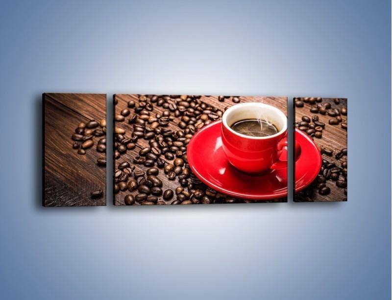 Obraz na płótnie – Kawa w czerwonej filiżance – trzyczęściowy JN441W5