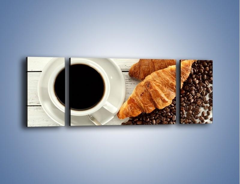 Obraz na płótnie – Kawa na białym stole – trzyczęściowy JN462W5
