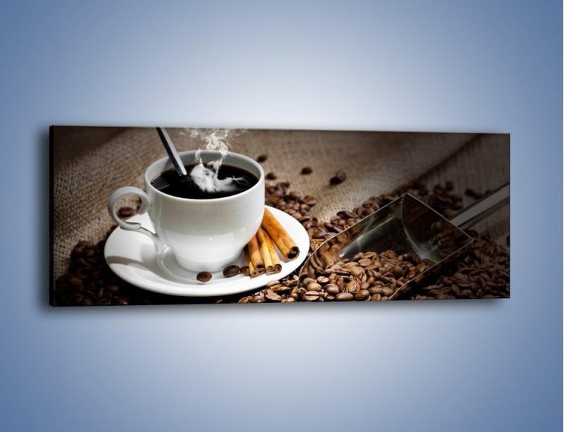 Obraz na płótnie – Czarna palona kawa – jednoczęściowy panoramiczny JN311