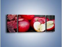 Obraz na płótnie – Czerwone jabłka późną jesienią – trzyczęściowy JN619W5