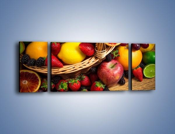 Obraz na płótnie – Kosz zatopiony w owocach – trzyczęściowy JN635W5