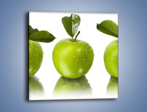 Obraz na płótnie – Świeżo umyte zielone jabłka – jednoczęściowy kwadratowy JN047