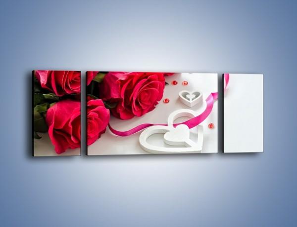 Obraz na płótnie – Róża z miłosnym przekazem – trzyczęściowy K1011W5