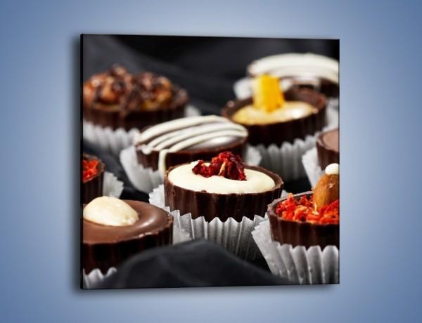 Obraz na płótnie – Mleczno-czekoladowe praliny z migdałami – jednoczęściowy kwadratowy JN051