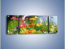 Obraz na płótnie – Bańkowy świat kwiatów – trzyczęściowy K691W5