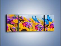 Obraz na płótnie – Bajka o kwiatach i motylach – trzyczęściowy K794W5