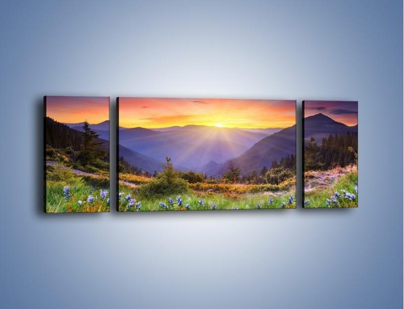 Obraz na płótnie – Góry o zachodzie słońca – trzyczęściowy KN014W5