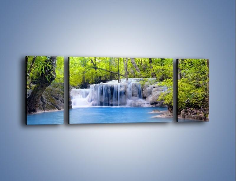 Obraz na płótnie – Mały leśny wodospad – trzyczęściowy KN057W5
