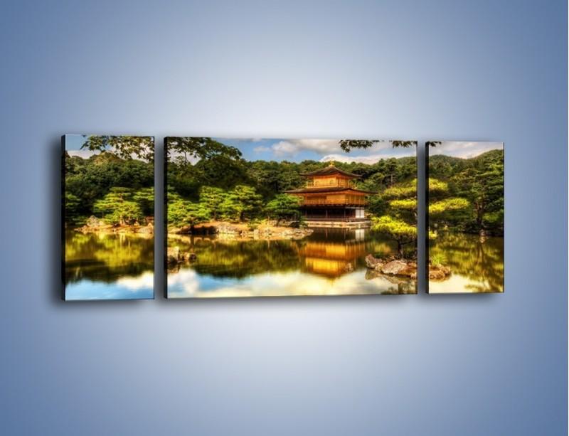 Obraz na płótnie – Widok z domu na wodę – trzyczęściowy KN1030W5