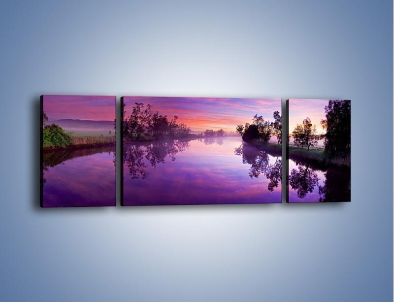 Obraz na płótnie – Fiolet w wodzie i na niebie – trzyczęściowy KN1046W5