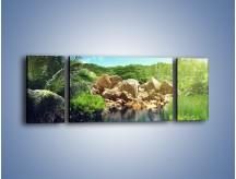 Obraz na płótnie – Bogata roślinność nad wodą – trzyczęściowy KN1082AW5