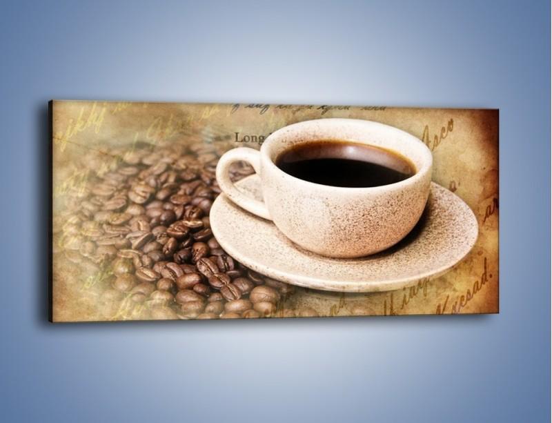 Obraz na płótnie – List przy filiżance kawy – jednoczęściowy panoramiczny JN347