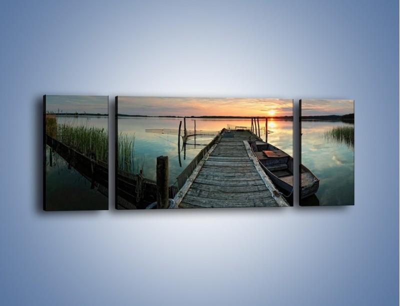 Obraz na płótnie – Stary most i łódź – trzyczęściowy KN1096AW5