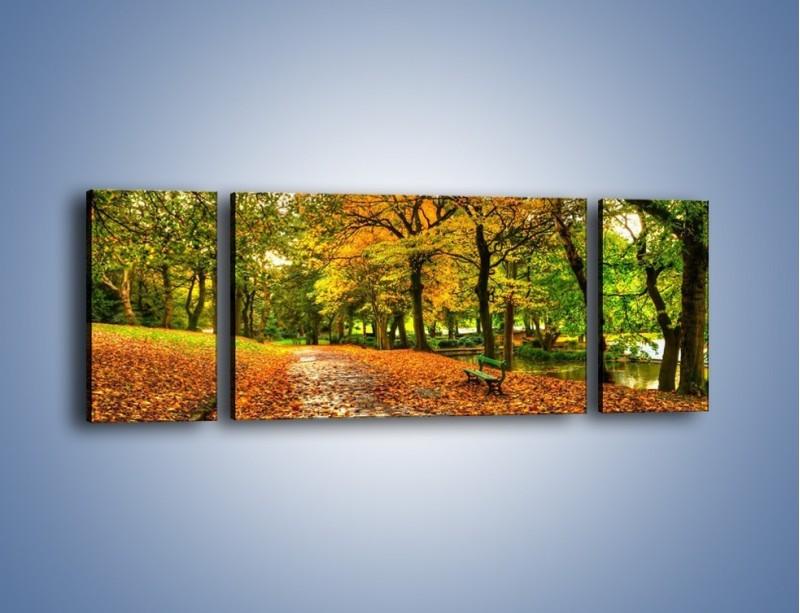 Obraz na płótnie – Piękna jesień w parku – trzyczęściowy KN1098AW5