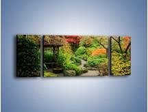 Obraz na płótnie – Alejka między kolorowymi drzewami – trzyczęściowy KN1113W5