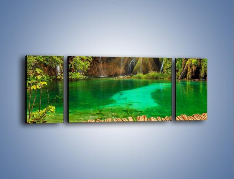 Obraz na płótnie – Zielone oczko wodne i drewno – trzyczęściowy KN1149AW5