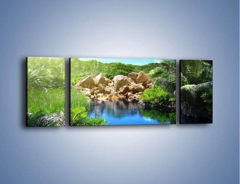 Obraz na płótnie – Wapienne skałki na wodzie – trzyczęściowy KN1188AW5