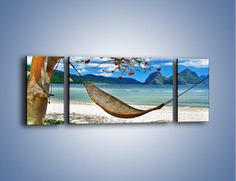 Obraz na płótnie – A może by odpocząć na hamaku? – trzyczęściowy KN1199AW5