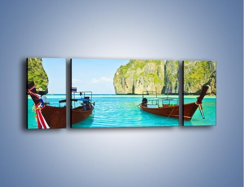 Obraz na płótnie – Taksówki wodne oczekujące na brzegu – trzyczęściowy KN120W5