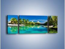 Obraz na płótnie – Biały piasek i palmy – trzyczęściowy KN1201AW5